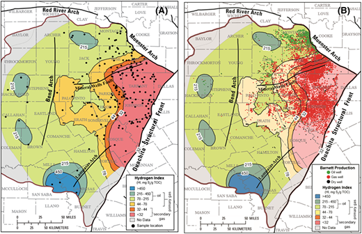 Reevaluation of thermal maturity and stages of petroleum formation a hydrogen index hi contour map of barnett shale based on us publicscrutiny Gallery