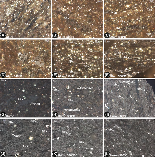 Images of pre-oil solid bitumen (sb) in starting materials and sb in the recovered rock from hydrous pyrolysis (HP) of the Alum and Huron shales. All images taken with incident white light under oil immersion. (A) Alum Shale starting material. (B) Alum Shale recovered from 300°C HP experiment. (C) Alum Shale recovered from 320°C HP experiment. (D) Alum Shale recovered from 340°C HP experiment. (E) Alum Shale recovered from 350°C HP experiment. (F) Alum Shale recovered from 360°C HP experiment. (G) Huron Member of the Ohio Shale starting material. (H) Huron recovered from 300°C HP experiment. Tasmanites is a marine alga present in many of the late Paleozoic shales of North America (Hackley and Cardott, 2016). (I) Huron recovered from 320°C HP experiment. (J) Huron recovered from 340°C HP experiment. (K) Huron recovered from 350°C HP experiment. (L) Huron recovered from 360°C HP experiment. inert = inertinite.