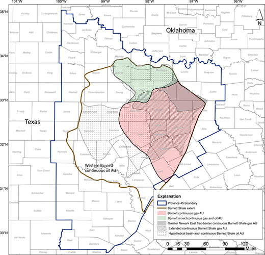 2015 us geological survey assessment of undiscovered shale gas and extents of the 2003 barnett shale assessment unit au boundaries shaded and patterned fandeluxe Choice Image