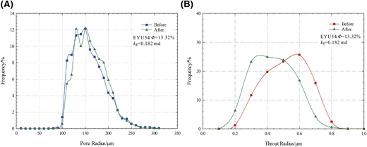 Pore size and throat size distributions before and after brine-flow tests. (A) Pore size distribution curves. (B) Throat size distribution curves. kg = nitrogen permeability; ϕ = porosity.