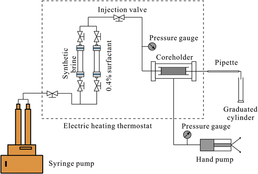 Schematic diagram of the experimental setup for brine-flow tests and displacement experiments.