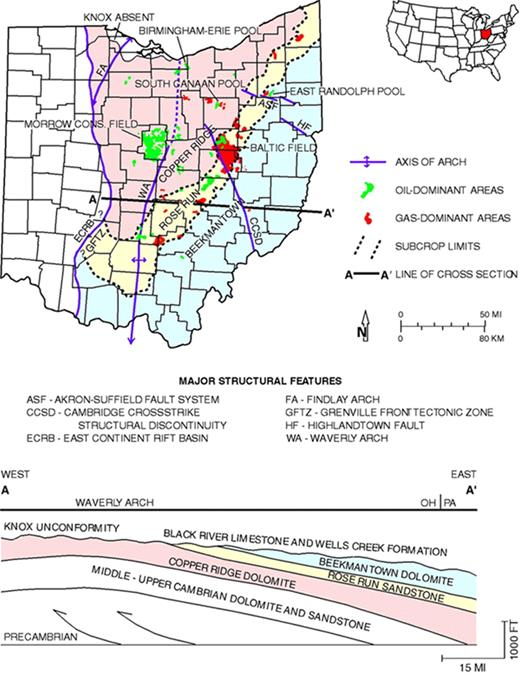 Cambrian ordovician knox production in ohio three case studies of map showing cambrian ordovician knox oil and gas poolsfields in ohio also fandeluxe Gallery