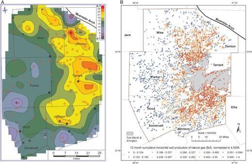 Log derived thickness and porosity of the barnett shale fort worth a phi h porosity feet contour map for the barnett publicscrutiny Gallery