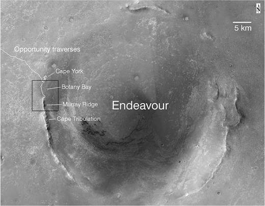 HiRISE-based mosaic showing Endeavour Crater, Opportunity's traverses, and key locations on the crater rim explored by the rover. Endeavour is largely buried by later Burns formation sulfate-rich sandstones and thus only high portions of the crater rim are exposed. Box shows the location of the portion of the mosaic shown in Figure 2.