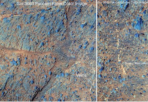 Pancam false color images of impact breccias in the Bristol Well in situ target location on Murray Ridge. Note the relatively large embedded rock clasts as compared to Green Island in Cook Haven. The right-hand view shows the location of the Bristol Well in situ target for which three overlapping in situ observations were acquired. This target is located to the south of the area covered by the Pancam data shown in the left-hand view. Table 1 shows that the compositions are consistent with the dominance of Ca-sulfate veins. For reference the large breccia block on the lower left side of the left image is ~0.35 m high. Portion of Pancam mosaic product IDs 1PPAG3ILFCDCYLAHP2277L222M, 1PPAG3ILFCDCYLAHP2277L555M1, and 1PPAG3ILFCDCYLAHP2277L777M1 were used to generate the left-hand image. Pancam product IDs 1P453282110RADCDAAP2586L2C1, 1P453282143RADCDAAP2586L5C1, and 1P453282180RADCDAAP2586L7C1 were used to generate the right-hand image.