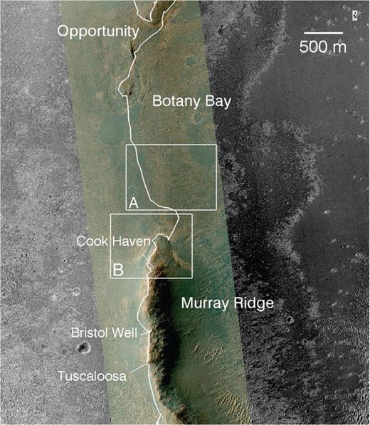HiRISE-based image showing Botany Bay and Murray Ridge, with Opportunity's traverses shown. Cook Haven is a gentle swale on the Murray Ridge rim segment and was the site for Opportunity's sixth winter sojourn. Bristol Well is a Ca sulfate vein and Tuscaloosa is a breccia outcrop examined by Opportunity, and both are shown to provide context for the rover's exploration of Murray Ridge. Box A is the location shown in Figure 3 that illustrates concentric and radial fractures in the Burns formation. Box B is the location shown in Figure 4 that shows fractures and the northern portion of Murray Ridge. HiRISE image ESP_036753_1775_MRGB (merged color and grayscale).