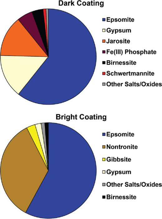 """Mass fractions of minerals produced by equilibrating the end-member coating compositions (Table 2) with water in a geochemical reaction model. The """"Other Salts/Oxides"""" category contains rutile and an array of minor sulfate and chloride salts."""