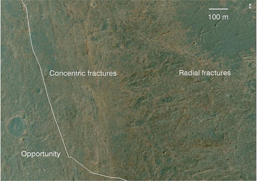 Portion of the HiRISE-based image segment covering Botany Bay, highlighting the locations of concentric fractures that are interpreted to have propagated up through the Burns formation outcrops just above a buried portion of Endeavour's rim between the Cape York and Murray Ridge rim segments. Radial fractures are evident extending to the east and northeast into Endeavour. HiRISE image ESP_036753_1775_MRGB.