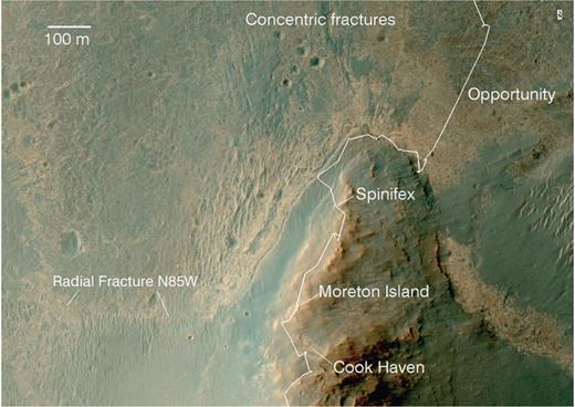 Portion of the HiRISE-based image segment covering the northern part of Murray Ridge. Concentric fractures are evident extending into the Burns formation outcrops located to the north of Murray Ridge. Note the radial fracture (strike N85°W) extending from the west to the east, terminating near the Cook Haven location. Spinifex and Moreton Island are two of Opportunity's breccia outcrop targets and are shown for context. HiRISE image ESP_036753_1775_MRGB.