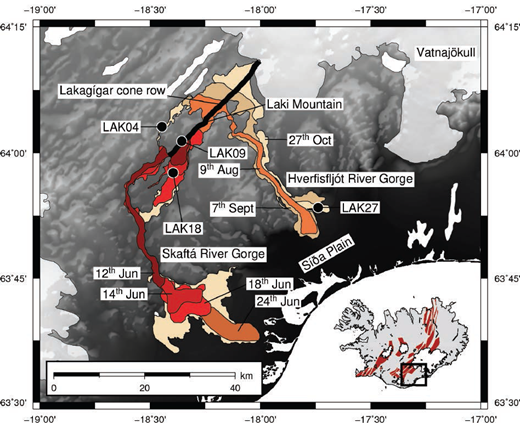 Map of the 1783–1784 CE Laki lava flow. The Lakagígar cone row, out of which the Laki lava erupted, is shown as a northeast-southwest trending black line. The extent of the flow at different times is shown after Thordarson and Self (1993). Locations of four samples used in this study are indicated with black circles. Further details about sample locations can be found in Passmore et al. (2012). The inset map shows the location of the Laki lava within the Eastern Volcanic Zone (EVZ) of Iceland. The outlines of volcanic systems are shaded in red on the inset map.