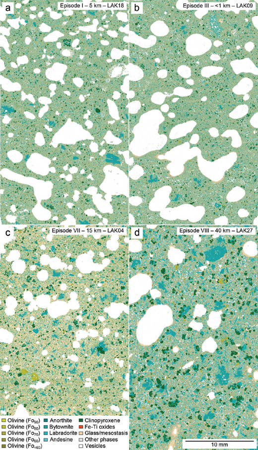 QEMSCAN images of the samples used in this study ordered by episode. Differences in crystal abundance between samples can be discerned in these phase maps. For example, the high macrocryst content of LAK27 (d) contrasts strongly with the low macrocryst content of LAK09 (b). Variability in groundmass textures is also visible: the dominantly blue coloration of seriate LAK27 (d) in contrast with the paler coloration of glassy LAK04 (c) reflects the greater degree of groundmass crystallization in the former. The presence of Fe-Ti oxides in LAK27 (d) also reflects the high degree of groundmass crystallization—the Laki lava was not Fe-Ti oxide saturated at the time of eruption (Guilbaud et al. 2007; Neave et al. 2013).