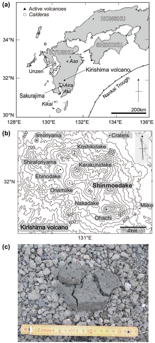 (a) Location and (b) contour maps of the Kirishima volcano group. The coastlines and counters were drawn by MapMap software (vers.6.0; Kamada 2014) and GSI Maps of the Geospatial Information Authority of Japan (2014), respectively. The active volcano and caldera information in this region was obtained from the National Catalog of the Active Volcanoes in Japan (Japan Meteorological Agency 2016), and location of the Nankai trough was obtained from a bathymetric chart of the Japan Coast Guard (JCG 2014). The craters of the Kirishima volcano group were determined from GeomapNavi (2016), a geological map display system of Geological Survey of Japan, National Institute of Advanced Industrial Science and Technology. (c) Top surface of the sampling location (Takachihogawara). The well-preserved nature of original deposition was confirmed by jigsaw impact cracks. The scale is in centimeters.