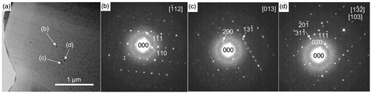 (a) BF-TEM image of the dense juvenile fragment. (b–d) The SAD patterns of pyroxene ultrananolites in a. On the assumption that these crystals have the same crystallographic structure, the diffraction patterns correspond to the C2/c clinopyroxene structure with the electron beam along the (b) [112], (c) [013], and (d) [132] or [103] zone axes.