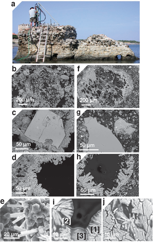 Authigenic mineral textures in tuff deposits and Roman marine mortar. Scanning electron microscopy backscattered electron (SEM-BSE) images. (a) Portus Cosanus pier, Orbetello, Italy (credit, J.P. Oleson) (Fig. 2). (b) Bacoli tuff (BT), pumice clast. (c and d) Neapolitan Yellow Tuff (NYT), dissolving alkali feldspar, phillipsite, and chabazite textures. (e) Surtsey tuff, Iceland 1979 drill core, dissolving phillipsite and associated Al-tobermorite, 37.0 m, 100 °C (credit, J.G. Moore). (f) Portus Cosanus, pumice clast with dissolved glass. (g) Portus Neronis, Anzio, Italy, dissolving alkali feldspar (see also Fig. 5). (h) Portus Cosanus, phillipsite textures. (i) Portus Cosanus, dissolving Campi Flegrei phillipsite [1], pozzolanic C-A-S-H binder [2] and Al-tobermorite [3] (see Fig. 7i for X-ray microdiffraction patterns). (j) Portus Baianus, Pozzuoli, Italy, dissolving in situ phillipsite and associated Al-tobermorite (Fig. 9).