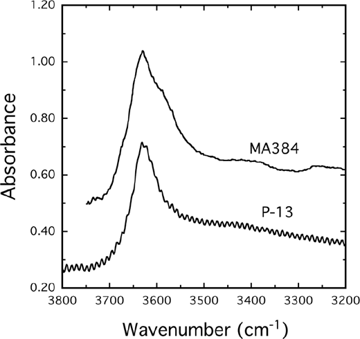 IR spectra of Mg3Al2Si3O12 (P-13; Geiger et al. 1991) synthesized at PH2O = 2.3 Ga and T = 1100 °C and garnet of composition (Mg2.50Fe0.592+)(Si0.06Al1.76Cr0.08Fe0.023+)Si3O12 (spectrum MA384 digitized from Thomas et al. 2015, with absorbance divided by 30) synthesized at PH2O = 18 GPa and T = 1800 °C (with 0.5 L H2O added). The OH– band defines a local hydropyrope cluster in both crystals.