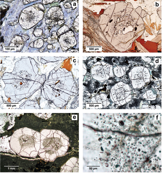 Thin-section photomicrographs showing examples of garnet poikiloblasts with inclusion-rich cores and inclusion-free or -poor rims. (a) Blueschist from Calabria, Italy; (b) pelitic migmatite from Ivrea Zone, Italy, containing both solid and nanogranitoid inclusions; (c) pelitic migmatite from Aus, Namibia; (d) retrogressed eclogite from the Moldanubian Zone, Czech Republic; (e) anatectic metasedimentary enclaves from El Hoyazo, Spain; (f) close-up of the boundary between inclusion-rich and inclusion-free portions of a garnet crystal from image e.