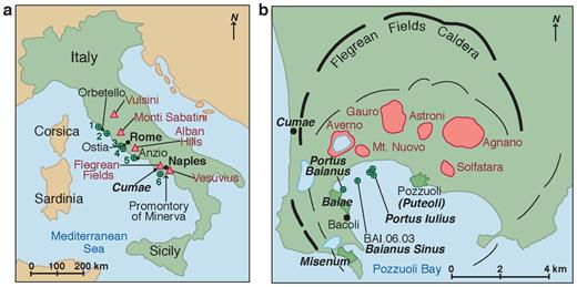 Ancient Roman seawater concrete harbor sites, central Italian coast, with Al-tobermorite in relict lime clasts, mid-first century BCE to first century CE. (a) Drill sites (green circles): 1 Santa Liberata, 2 Portus Cosa, 3 Portus Claudius, 4 Portus Traianus, 5 Portus Neronis, and 6 Portus Baianus, Portus Iulius, and Baianus Sinus, Volcanic districts (red triangles): (b) Flegrean Fields caldera and concrete drill cores, including Baianus Sinus BAI.2006.03 (after Orsi et al. 1996). Thick black lines: Campanian Ignimbrite caldera rim, thin black lines: Neapolitan Yellow tuff caldera rim; red areas: volcanic craters.