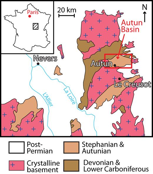 Location of the Autun Basin in northeastern part of the Massif Central, France (Gand et al., 2007, modified).