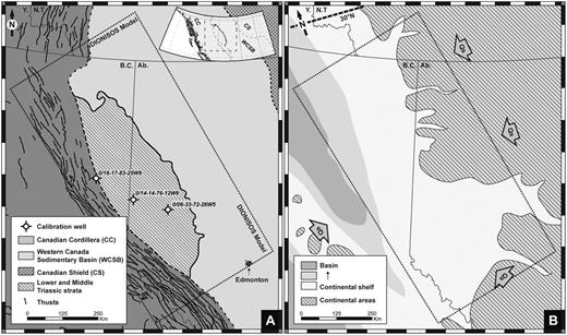 A. Location of the study area (faults from Reed et al., 2005, Triassic subcrop edges from Edwards et al., 1994; basin limits from Wright et al., 1994). B. Paleogeographic map during the lower Triassic over the Western Canada sedimentary basin. Qs: sedimentary fluxes; Ab.: Alberta; B.C.: British Columbia; Y.: Yukon; N.T.: Northern Territories.