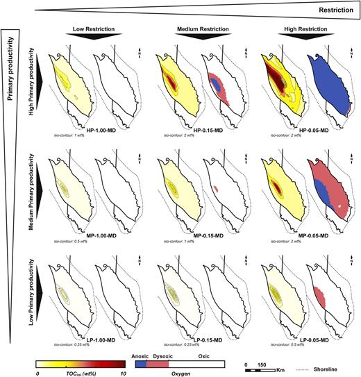 TOCini and benthic oxygen maps from the stratigraphic modeling of type 3 basin. Note that anoxia cannot be induced by high primary productivity alone. HP: high productivity; MP: medium productivity; LP: low productivity; MD: medium diffusion.