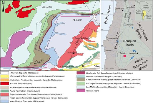 Location map of the Neuquén Basin and geological map of the Picún Leufú Anticline (red box indicates the location of measured sections, blue box indicates observation reported in the western side of the Picún Leufú Anticline).