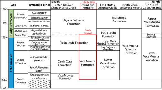 Chronostratigraphic chart of the Tithonian–early Valanginian in the southern and central Neuquén Basin (Modified after Spalletti et al., 2000). Huncal Member from Leanza et al. (2003). Time scale after Gradstein et al. (2012). Ammonite biozones from Leanza and Zeiss (1994), Riccardi (2008), Aguirre-Urreta et al. (2011).