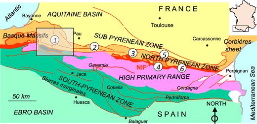 Structural map of the Pyrenees (from J. Canérot, 2008) showing the location of the Tardets-Mauléon (1), Lourdes – Baronnies (2), Ballongue (3), Aulus (4), Camarade (5) and Saint-Paul de Fenouillet – Boucheville (6) Cretaceous flysch basins.