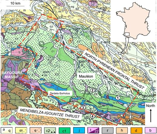 Geological map of the Mauléon Basin and surrounding area (from Carte géologique de la France à 1/1 000 000, 6e édition – 1996, BRGM Ed.). 1 to 4: selected stratigraphic sections in Fig. 3. Red doted line corresponds to Diagram D in Fig. 6. a: Quaternary alluvial deposits; q: Plio-Quaternary colluvium; m: Miocene; e: Eocene; c2: Upper Cretaceous; c1: Early Cretaceous; j: Jurassic; t: Triassic and ophites (22); r: Permian; h: Carboniferous; d: Devonian; b: Cambro-Ordovician.