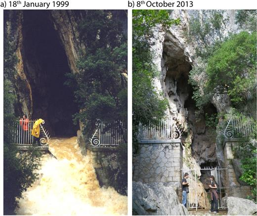 The Ragas cave (b) or overflow spring (a). Photo taken on 18th January 1999: one of the highest karst floods observed over the last three decades at the Ragas. The rainfall recorded at the Toulon station and Le Castellet aerodrome station was respectively 90 mm/d and 110 mm/d on 17th January 1999 (with a previous rainfall event on 10th January 1999 of 66 mm in Toulon and 56 mm in Castellet); no data were available on the Siou-Blanc plateau where the rainfall is usually higher.