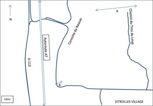 Localisation des deux coupes A et B sur la commune de Vitrolles (Bouches-du-Rhône).