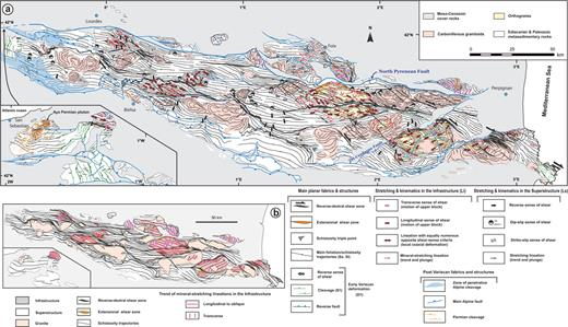 (a) Structural and kinematic map of the Paleozoic crust of the Pyrenees. The Basque Massifs are displaced from their original position (see Fig. 2). The reader may refer to Figure 2 for the nomenclature of the main structural features. (b) Synthetic structural map. Transverse Li lineation trajectories have been drawn only where those lineations are dominant over large portions of the infrastructure. See Debon and Guitard (1996) for the corresponding regional-scale isograd map pattern.