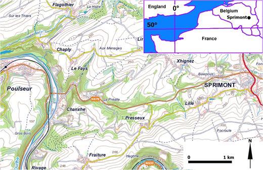 Topographie de la zone étudiée. Extrait de l'Atlas Topographique Belgique, IGN Ed.