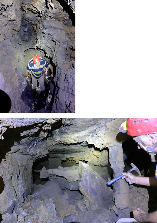 """La grotte """"des deux Albert"""". Les formes déchiquetées résultent de l'érosion de l'altérite résiduelle."""