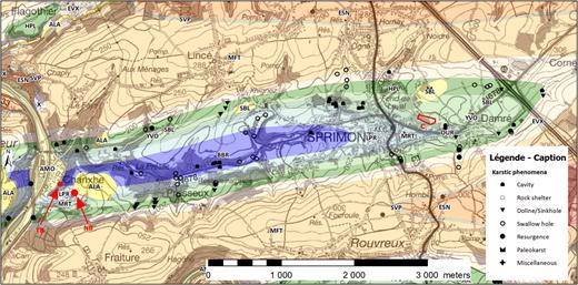 Carte géologique de la zone étudiée (d'après Mottequin et Marion, 2012, 2014). Famennien avec: ESN: Formation d'Esneux; SVP: Formation de Souverain-Pré; MFT: Formation de Montfort; EVX: Formation d'Évieux et de Comblain-au-Pont. Tournaisien avec: HPL: Formations d'Hastière, Pont d'Arcole et Landelies; YVO: Formation d'Yvoir; OUR: Formation de l'Ourthe; MRT: Formation de Martinrive; LPR: Formation de Longpré. Viséen avec: BBR: Formation de la Belle Roche regroupant les Formations de Neffe et de Terwagne. SBL: sables landéniens; ALA: alluvions anciennes; AMO: Alluvions modernes. X: terrains anthropiques. C: carrière du Coreux. TB: Trou bleu, résurgence générale du système. NB: grotte du Noû Bleû.