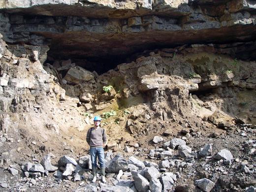 """La grotte """"Nico"""". On distingue de haut en bas la cavité ouverte avec concrétions stalagmitiques, l'ensemble sédimentaire étudié ci-après et des éboulis surtout dus aux travaux de la carrière."""
