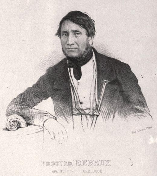 Portrait de Prosper Renaux (1793–1852) publié par Emile-Jacques Pérès (1853). Dans l'état actuel des connaissances, Renaux est le premier à avoir découvert et étudié un dinosaure, authentifié de manière incontestable, dans le Crétacé provençal, et ce dès 1841. Photographie Bibliothèque municipale d'Avignon (Livrée Ceccano).