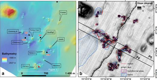 a) Expanded high resolution bathymetry of the central part of the Southern Trough with location of fluid-emission acoustic images described in the text (black circles and squares) and their maximum altitude above the seafloor. The main vent sites are named. Red triangles indicate the point where oil discharges have been seen (see Fig. 6). b) Annotated structural interpretation of the same area shown in a) superimposed on an acoustic backscatter image. The black lines labeled P4 and P5 are the AUV sub-bottom profiles.