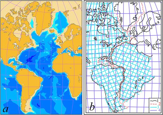 Comparison of Fig. 1 and Fig. 2 of Boris Choubert's paper (1935). a − Bathymetric map of the Atlantic Ocean (redrawn after Choubert, 1935). Light beige: from 0 to −1.000 m.; light blue: from −1.000 to −2.000 m.; medium-light blue: from −2.000 to −4.000 m.; medium-dark blue: from −4.000 to −6.000 m; dark blue: below −6.000 m; b − Fit of the continents on the basis of the bathymetric map (redrawn after Choubert, 1935).