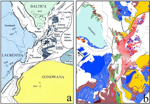 The Palaeozoic Belts prior to the opening of the Atlantic: according to a) Michel Faure (2013); b) Boris Choubert (1935). Note the very similar structural situation of the Hercynian belt (slate gray in the left, red on the right) as being in both sketches compressed in between Baltica-Laurentia on the one hand and Gondwana on the other hand. Fig. 2b: Deep blue: Precambrian belts; deep brown: unfolded Precambrian units; light brown: unfolded Palaeozoic units; violine: Permian rocks; yellow: post-Hercynian unfolded rocks; green: Caledonian and Taconic Belts; striped (green and red): Acadian belt; red: Hercynian belt. Thick black dashed lines: supposed outlines of the Precambrian continental blocks.