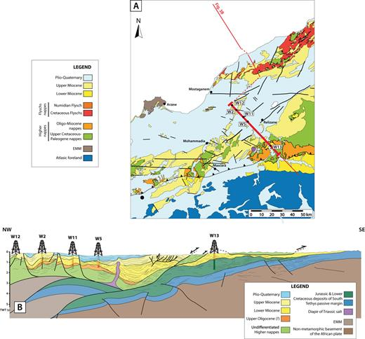 Post-nappes Chelif Basin in the western Tell. (A) Geological map of the Chelif Basin area. Location of the seismic cross-sections (B) is given on (A). (B) Seismic cross-section with line drawing from the southwestern end of the Chelif Basin (modified after Roure et al., 2012 and the original data).