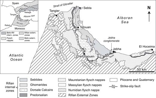 Location of the Jebha conglomerate in the Internal Zones of the Rif chain.