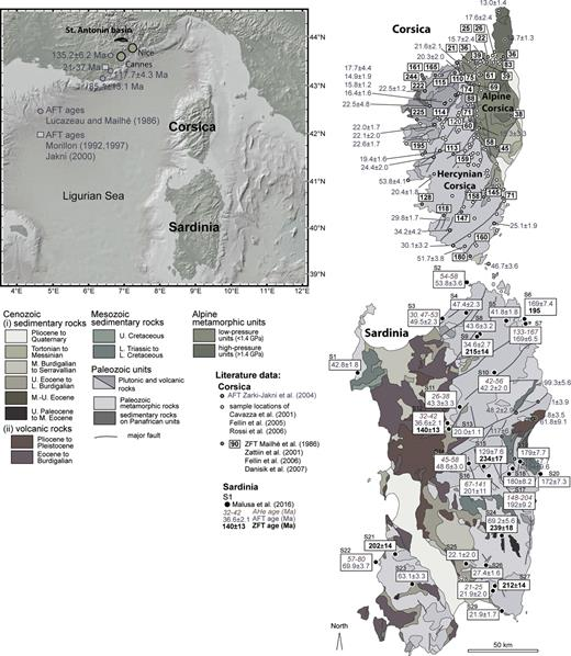 Compilation of published bedrock apatite and zircon fission-track data of the Maures Esterel massif and the Corsica-Sardinia block. Data from Lucazeau and Mailhé (1986), Mailhé et al. (1986), Morillon (1992, 1997), Cavazza et al. (2001), Zarki-Jakni et al. (2004), Fellin et al. (2005, 2006), Rossi et al. (2005), Danisik et al. (2007), Zattin et al. (2008) and Malusà et al. (2016). Because of the large volume of data not all are shown, but the presented ages are representative. Overview map from GeoMapApp (http://www.geomapapp.org/). Corsica and Sardinia geological maps with sample locations were taken and modified from Malusà et al. (2016).