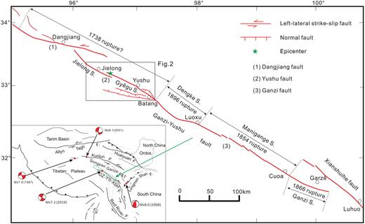 Characteristics geometry and segmentation of the surface rupture map showing the location of the yushu fault and the historic earthquake ruptures on the ganzi ccuart