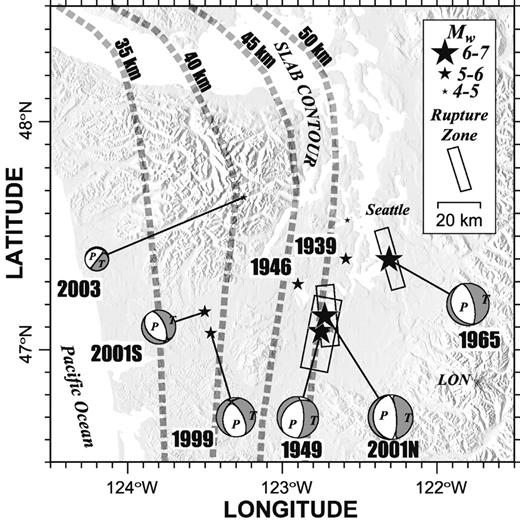 Moment tensor and rupture model for the 1949 olympia washington locations and mechanisms of historical and modern puget sound intraslab earthquakes the contours from trhu fandeluxe Gallery