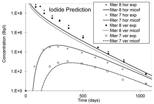 Blind prediction of the iodide concentration in the TD41HV experiment (hor is the horizontal piezometer, ver is the vertical piezometer).