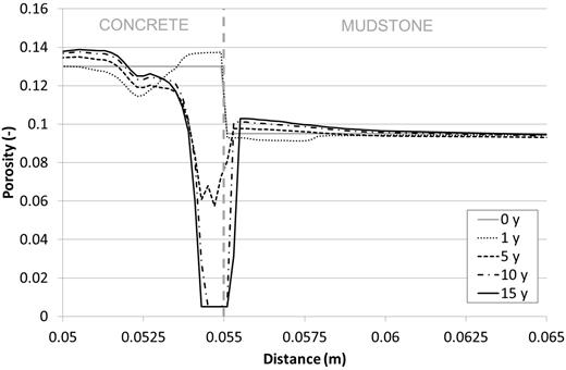 The porosity profile around the interface at 0, 1, 5, 10 and 15 years (base case).