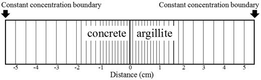 Unidimensional heterogeneous discretization of the concrete/argillite interface in our calculation.