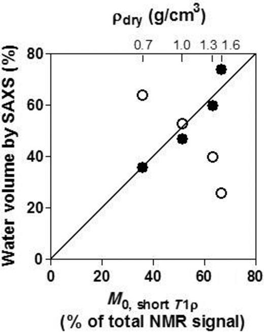 Relative volumes of IL and non-IL water (in % of total water content) determined by SAXS vs. the magnetization M0 vector associated with short T1ρ relaxation times determined by NMR. Filled and open circles refer to the relative volumes of IL and non-IL water, as determined by SAXS.