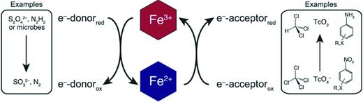 Schematic representation of redox cycling of structural Fe in clay minerals. The coloured hexagons symbolize the octahedral binding environment of Fe(III) (top) and Fe(II) (bottom) in the clay mineral structure. Structural Fe(III) can be reduced by electron donors (e.g. dithionite, hydrazine, microorganisms, etc.). The resulting structural Fe(II), in turn, reduces oxidized organic contaminants (e.g. carbon tetrachloride or nitroaromatic compounds) or metals (e.g. Tc7+) (used with permission from Neumann et al., 2011).