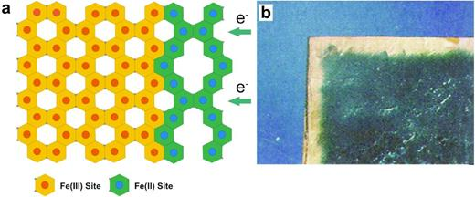 (a) Schematic illustration of a reducing boundary or front of Fe(II)-Fe(III) moving through a clay mineral layer during microbial reduction; (b) photograph of an analogue oxidizing boundary or front of Fe(III)-Fe(II) that moved through a mica flake (lepidomelane flake, 1 × 2 cm) after treatment with an oxidizing solution of Br2-saturated 1 m KCl solution at 90°C for 80 weeks (modified from Scott & Amonette, 1988).
